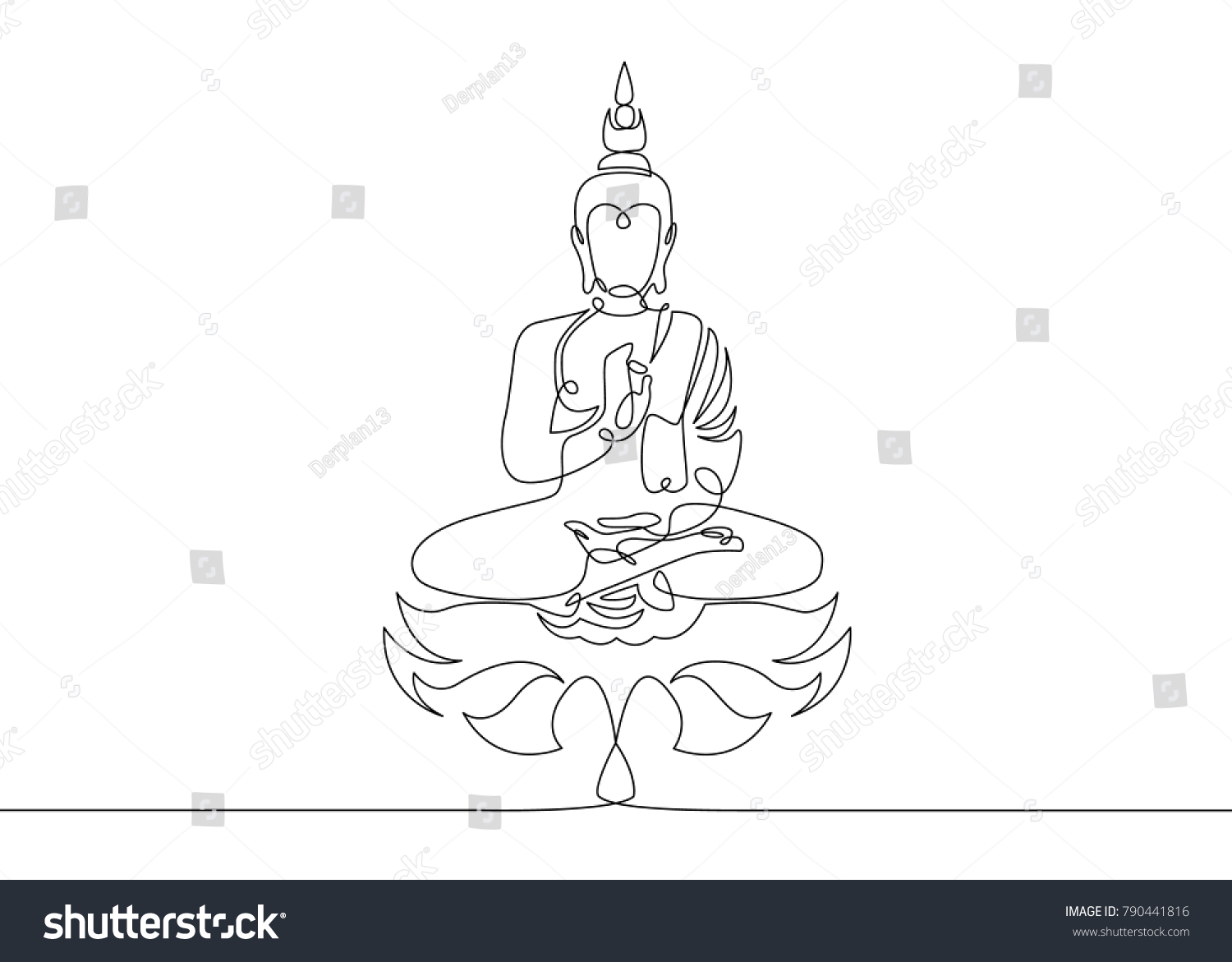 One Continuous Line Drawn Buddha Statue Stock Vector 790441816