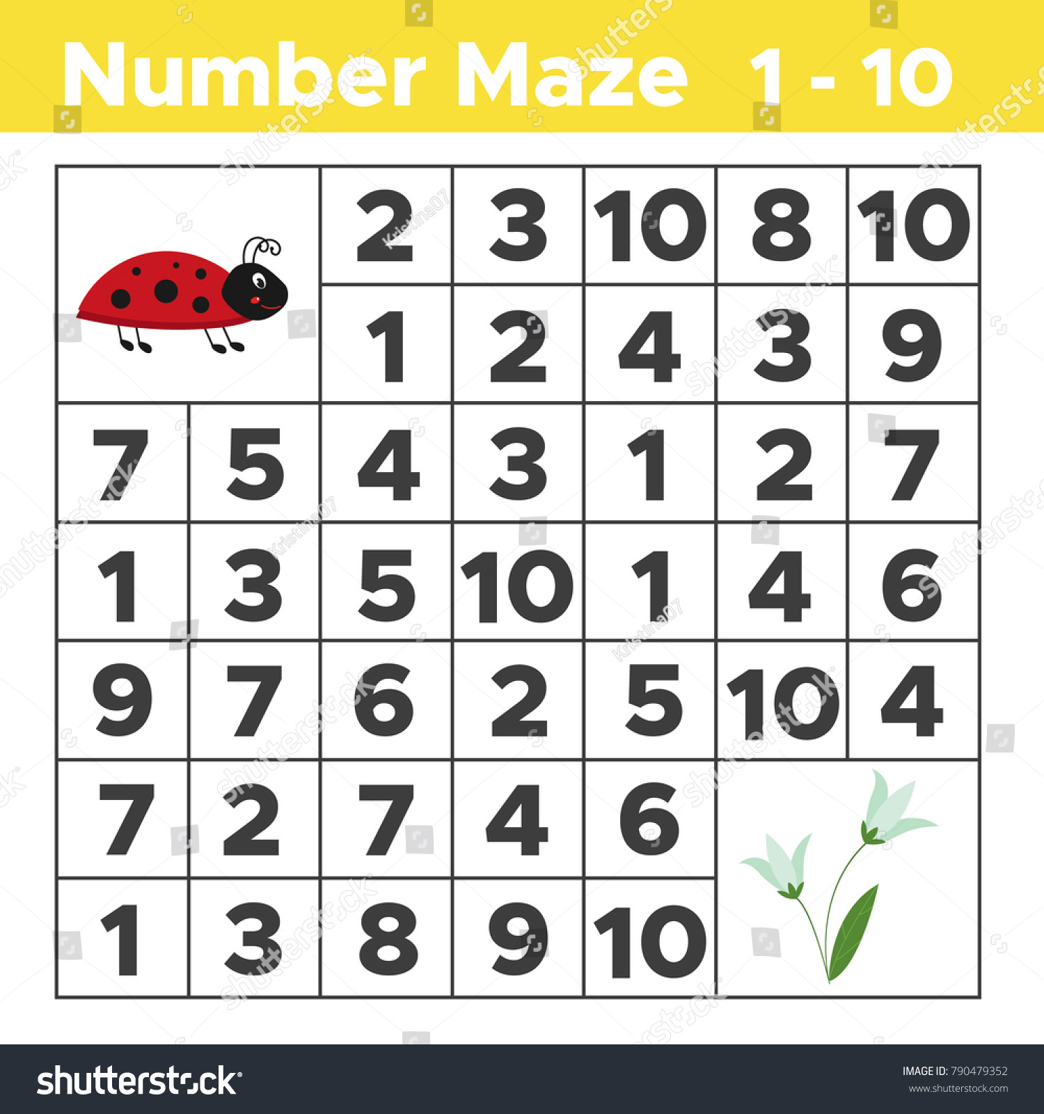 worksheet Ladybug Counting Worksheet number maze math puzzle game children stock vector 790479352 for help ladybug find spring flowers counting