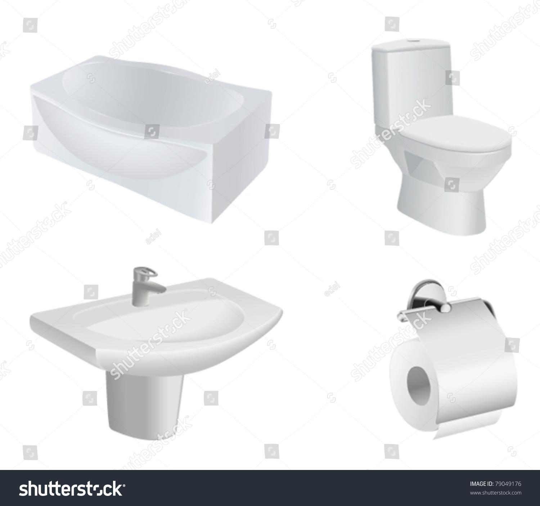 vector bathroom equipment set. Vector Bathroom Equipment Set Stock Vector 79049176   Shutterstock