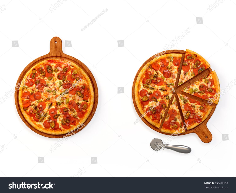 freshly baked pizza isolated on white stock illustration 790496110