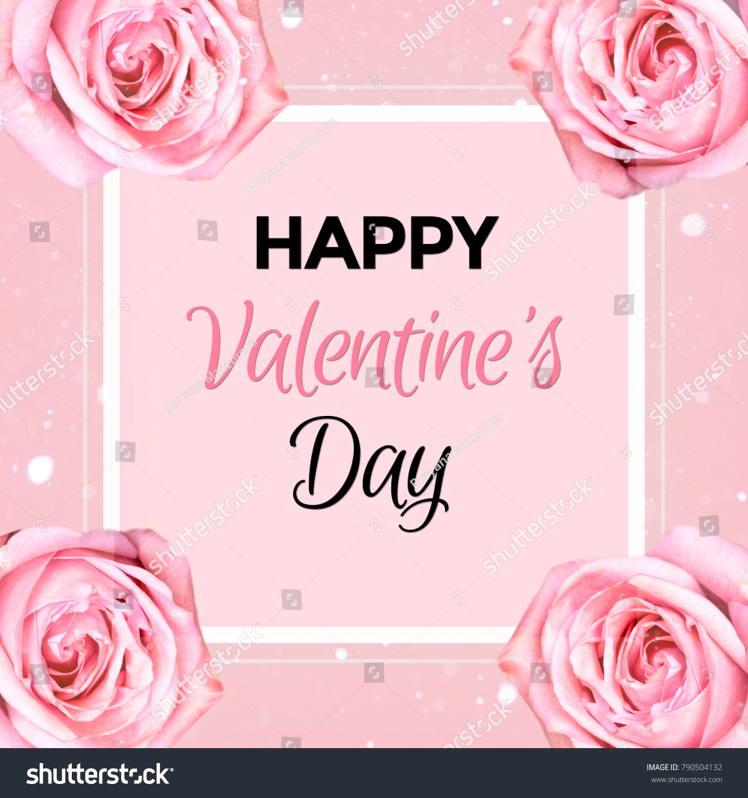 Happy Valentines Day Pink Greeting Card Stock Illustration 790504132