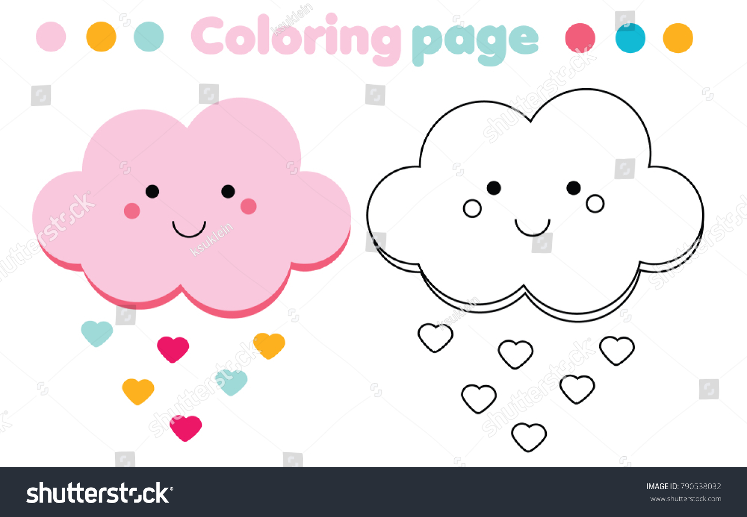 Coloring Page Cute Cloud Color Picture Stock Illustration 790538032 ...