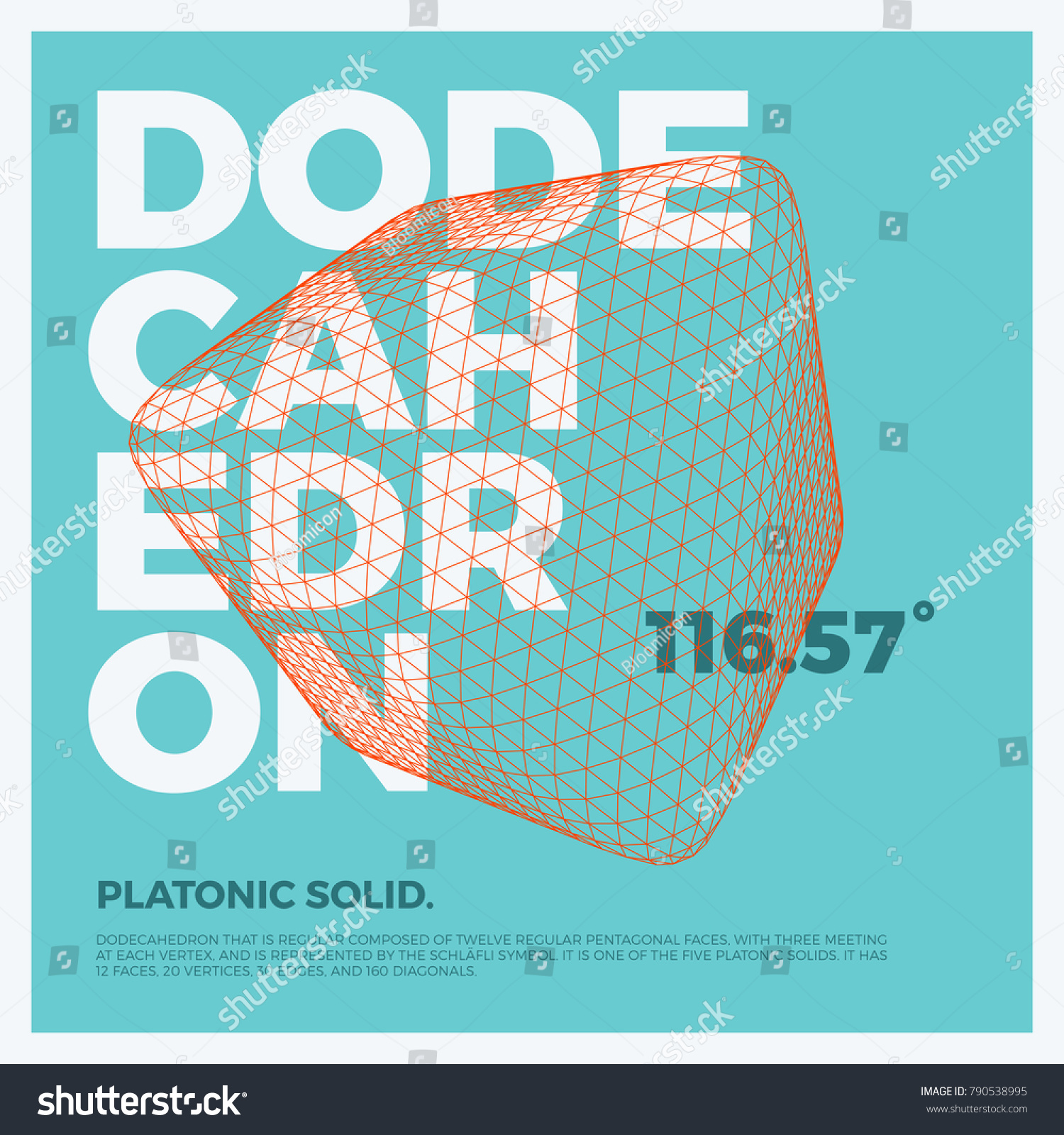 Typographic Poster Art Vector Threedimensional Shape Stock Vector
