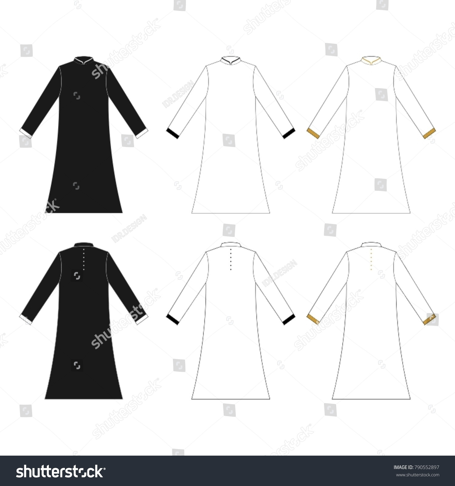 arabian robe abaya vector template stock vector royalty free