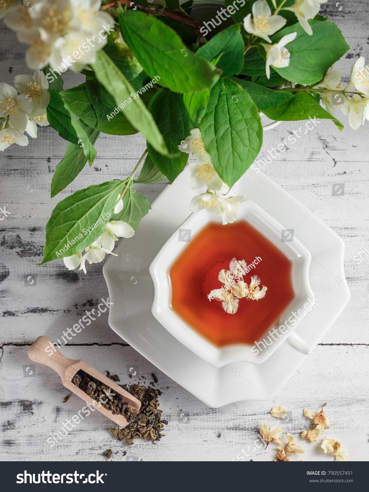 White Porcelain Cup Tea Jasmine Flowers Stock Photo Edit Now