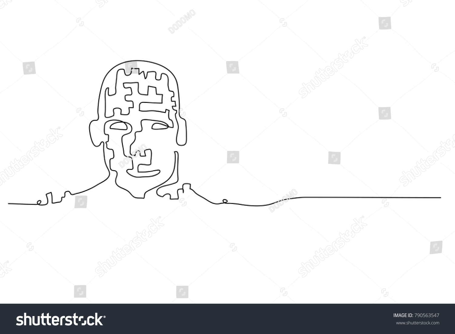 Continuous Line Drawing Face : Continuous line drawing robot brain stock vector
