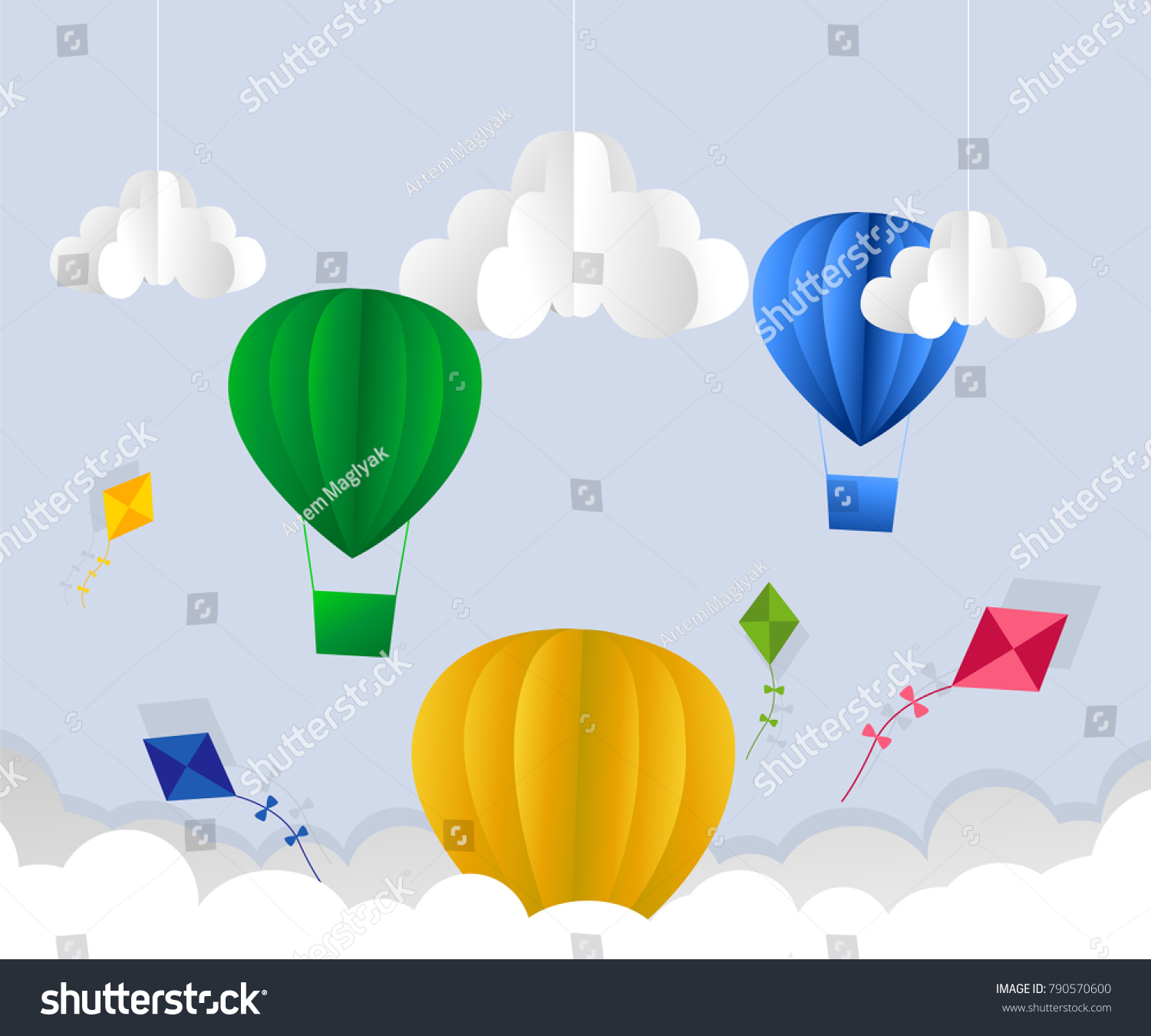 Illustration clouds suns hot air balloon stock vector 790570600 illustration of clouds suns and hot air balloon origami flying on the sky bringing on jeuxipadfo Choice Image