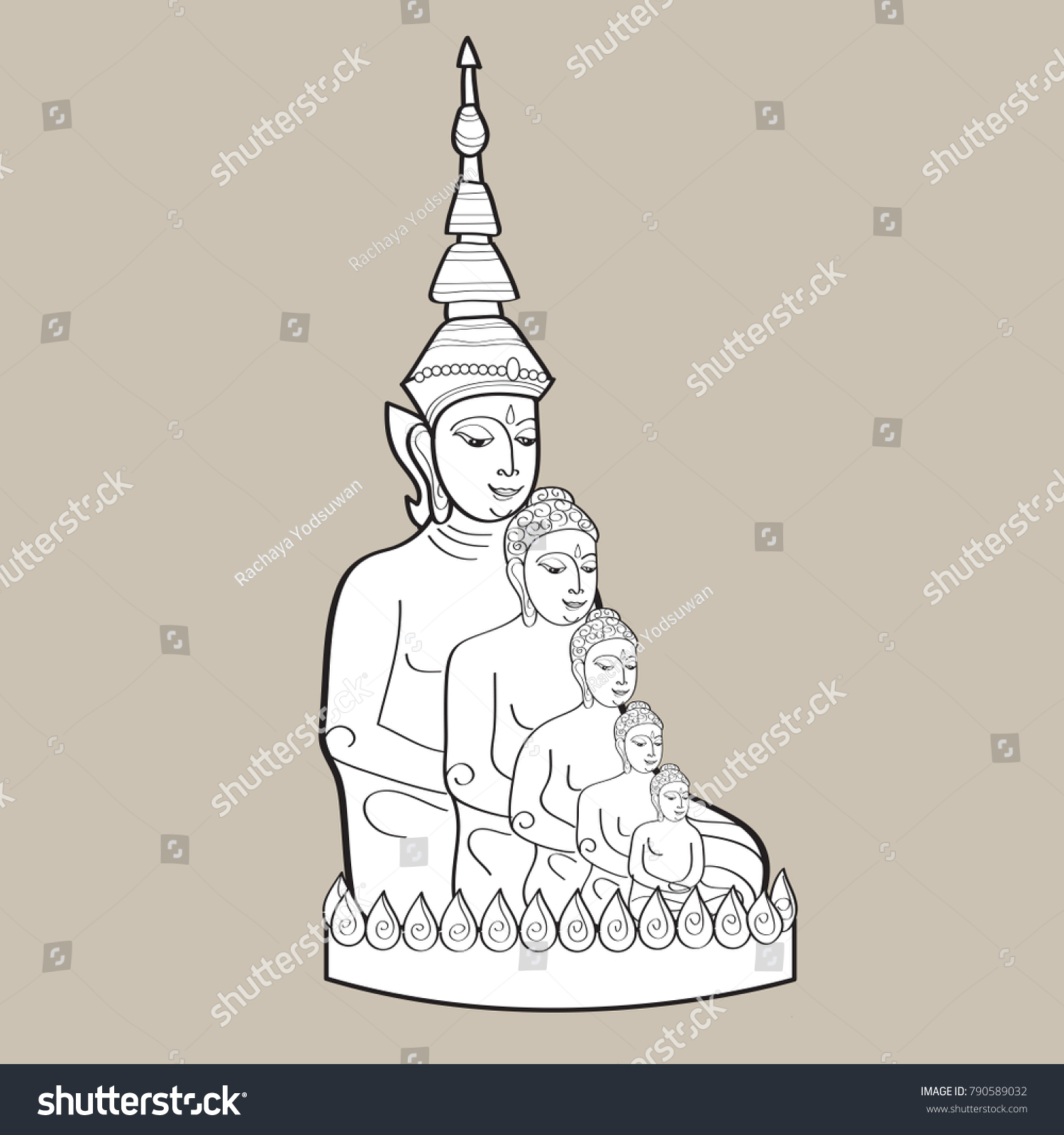 Famous Thai Buddha Sculpture Hand Drawn Stock Vector Royalty Free