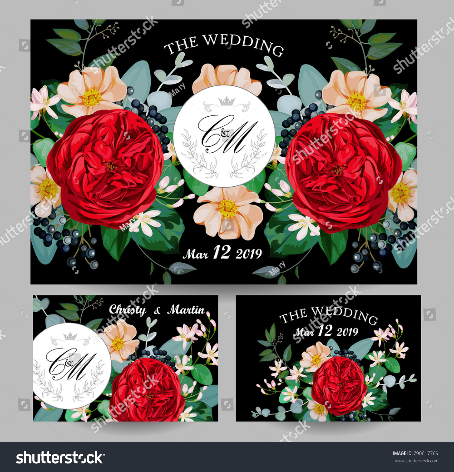 Wedding Invitations Red English Rose Stock Vector 790617769 ...