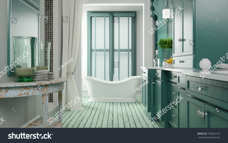 Shabby Bathroom Green Color Bath Tub Stock Illustration 790623775 ...