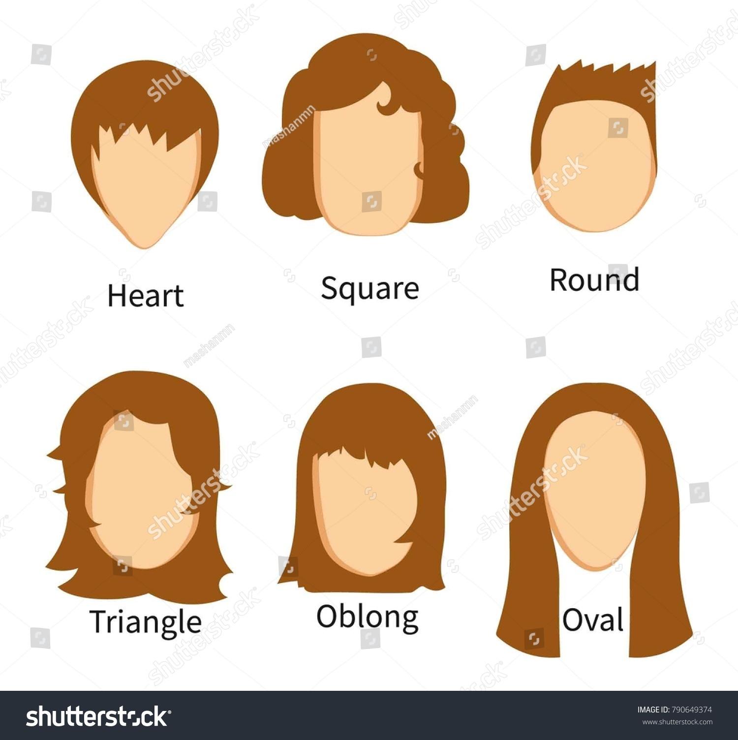 Sets Face Types Matching Haircuts Vector Stock Vector Royalty Free