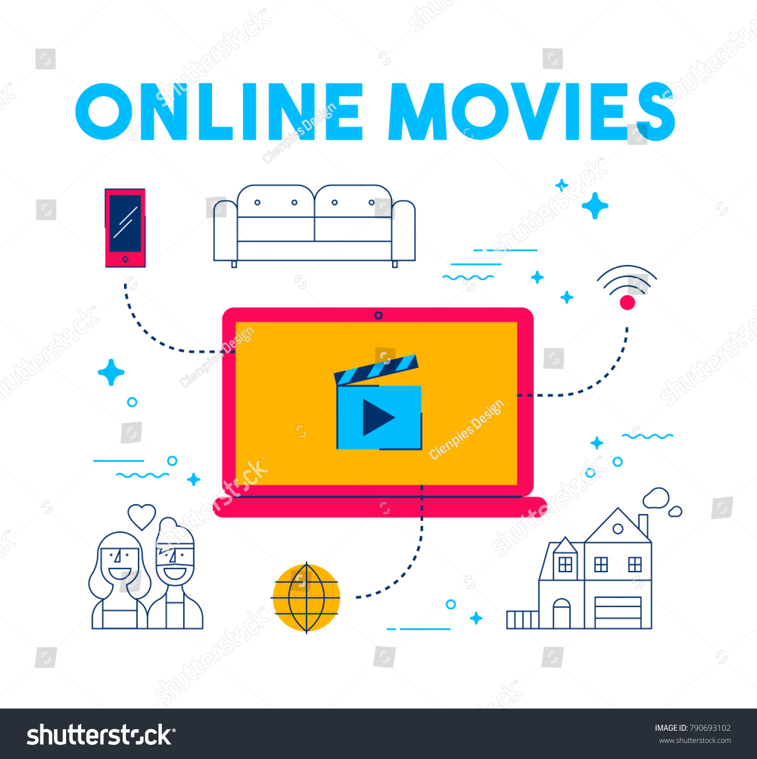 Online Movie Streaming Modern Flat Art Stock Vector (Royalty