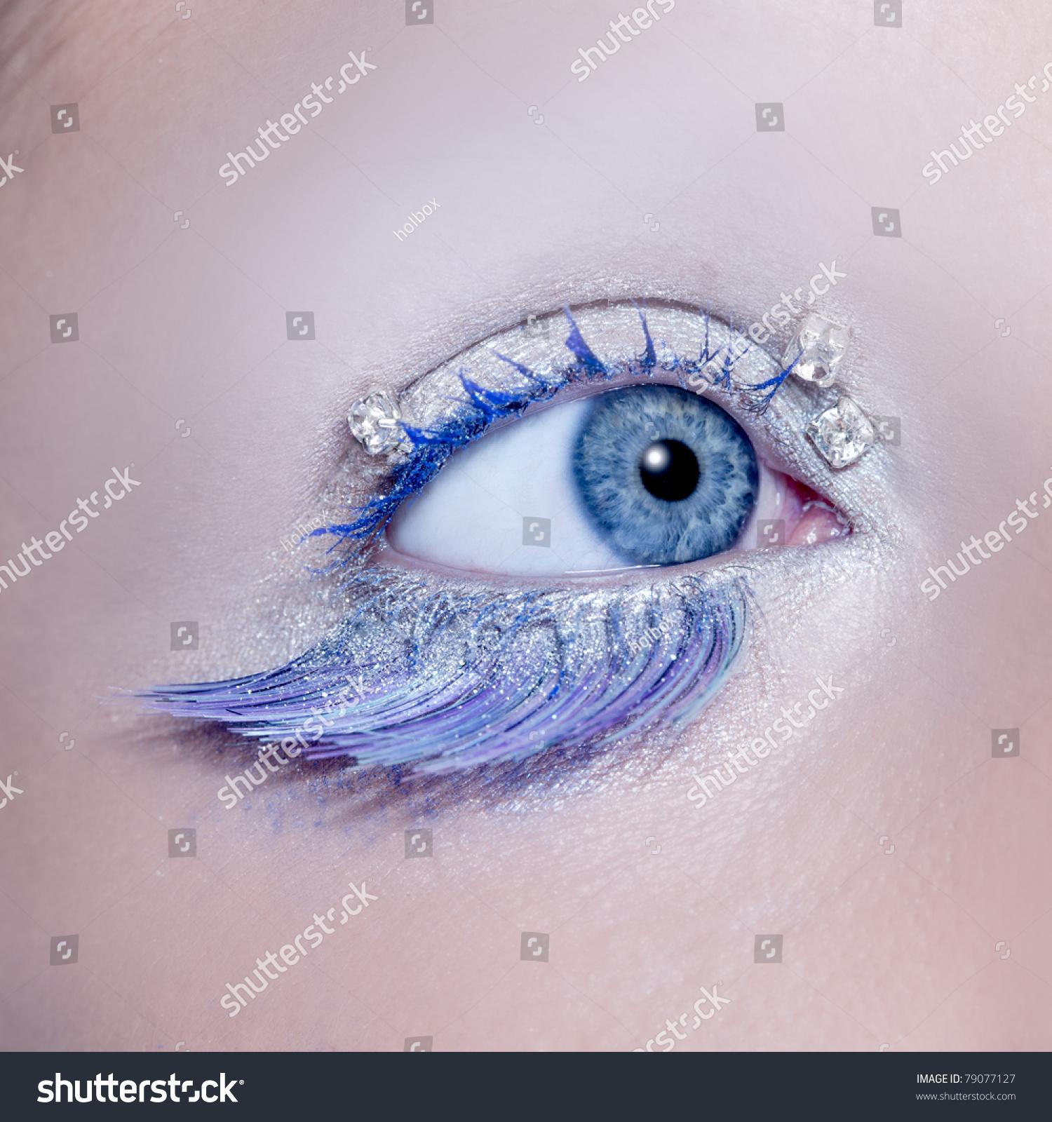 Blue Eye Macro Closeup Winter Makeup Stock Photo 79077127 ...