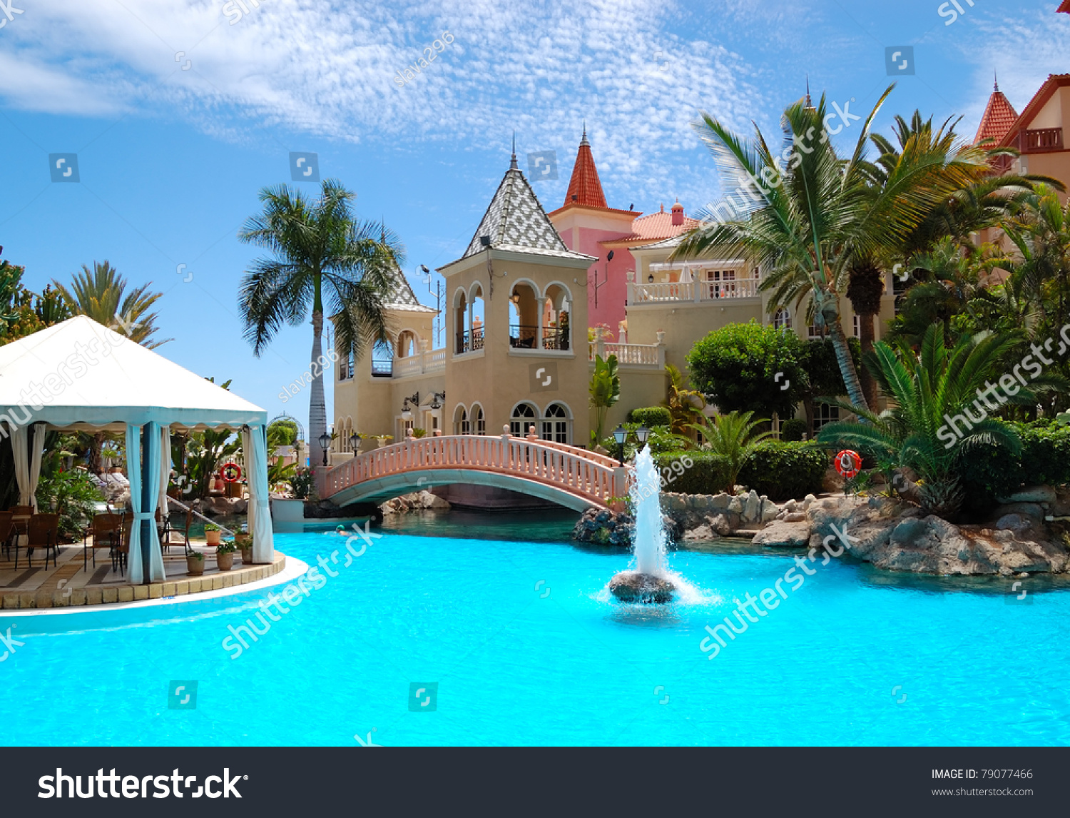 Swimming Pool With Fountain At Luxury Hotel Tenerife Island Spain Stock Photo 79077466