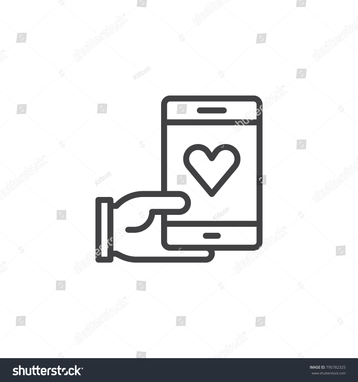 Hand Holding Phone Heart Line Icon Stock Vector Royalty Free