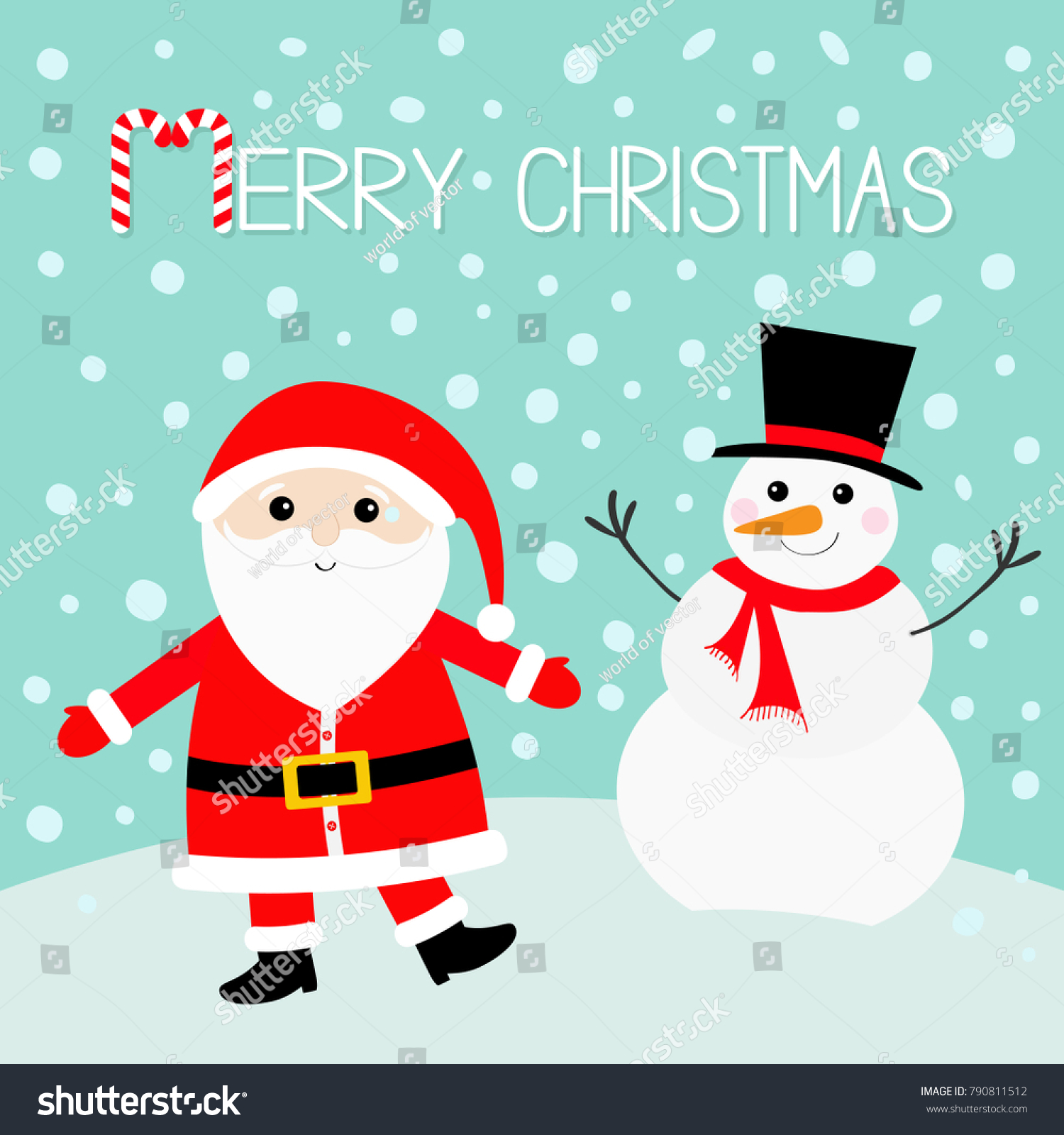 Snowman Santa Claus wearing red hat, costume, big beard, belt buckle ...