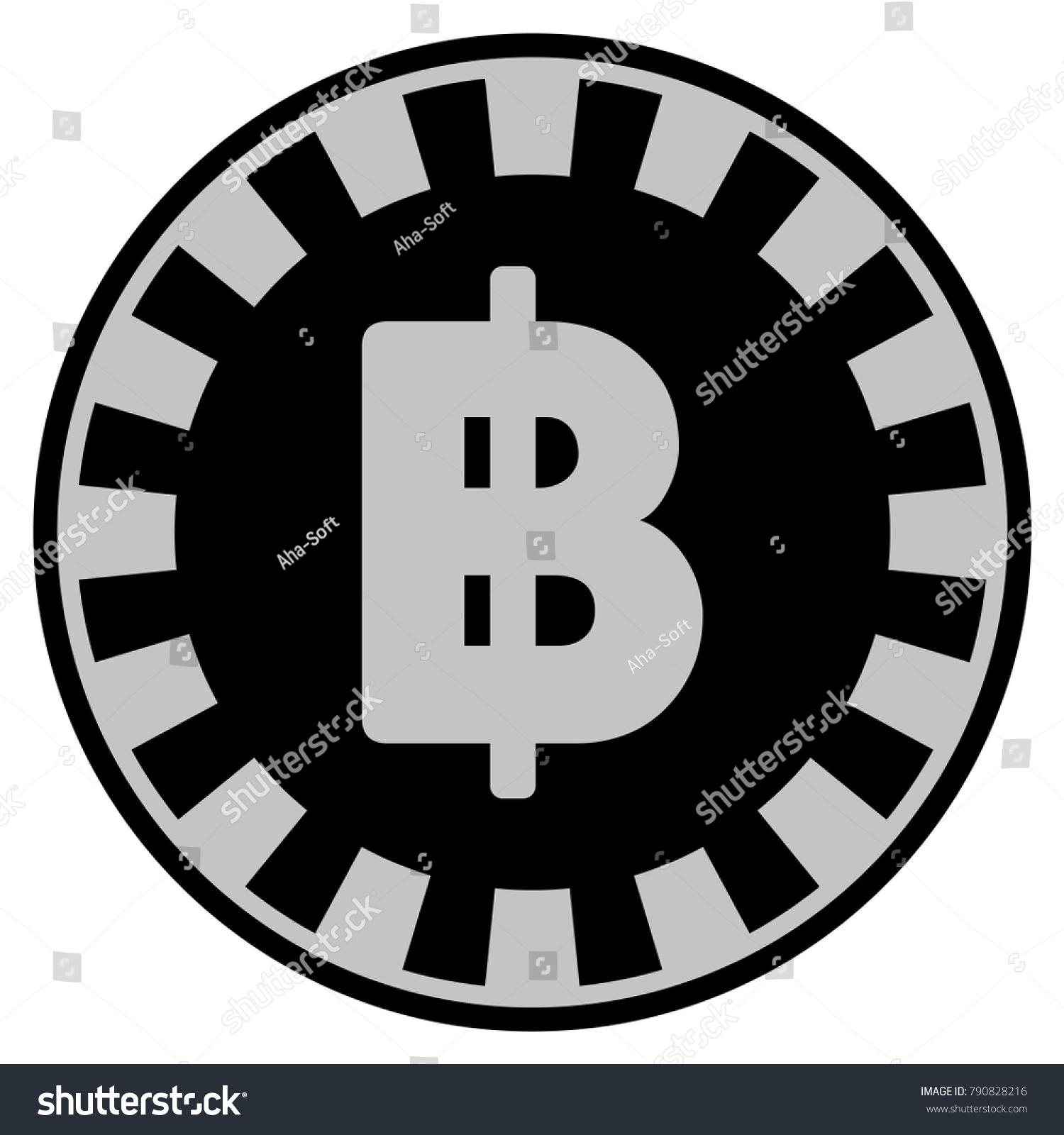 Thai Baht Black Casino Chip Icon Stock Illustration 790828216