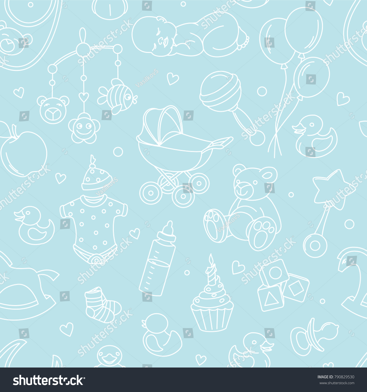 Newborn Baby Shower Seamless Pattern For Textile Print Greeting Cards Wrapping Paper