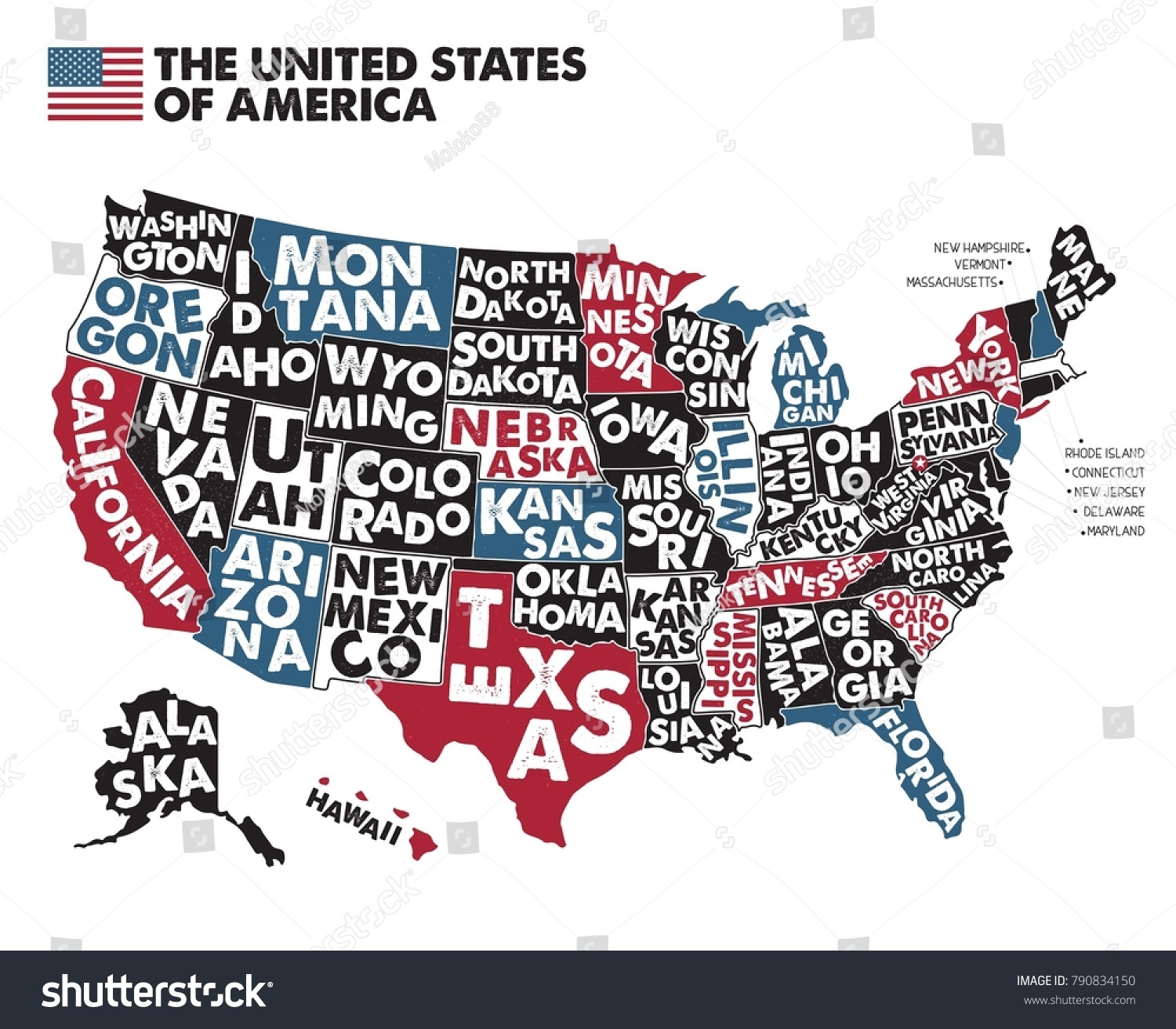 Poster map united states america state stock vector hd royalty free poster map of united states of america with state names blackred blue publicscrutiny Choice Image