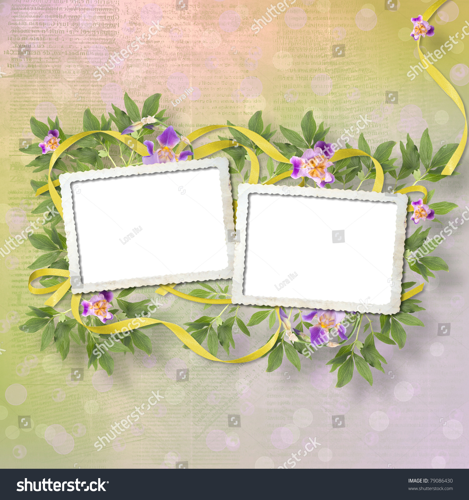 Old newspaper background with frame and bunch of flower | EZ Canvas