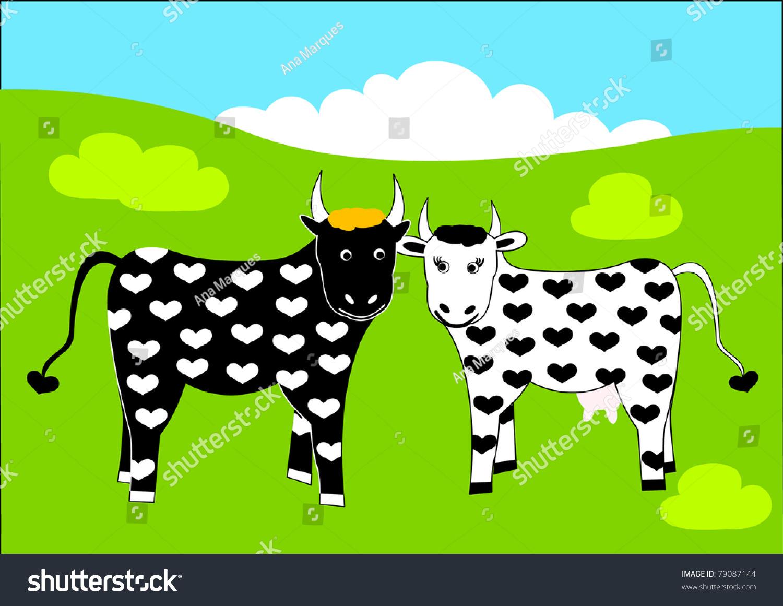 Cute Cow Bull Pair Hearts Pattern Stock Illustration 79087144 ...