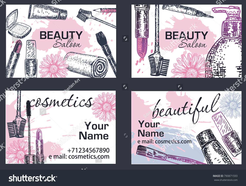 Beauty Salon Makeup Artist Business Card Stock Photo Photo Vector
