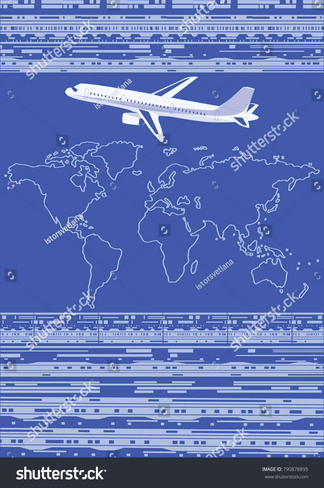 Airplane world map abstract dark background stock vector 790878895 airplane world map abstract dark background with the symbol of information technology art biocorpaavc Images
