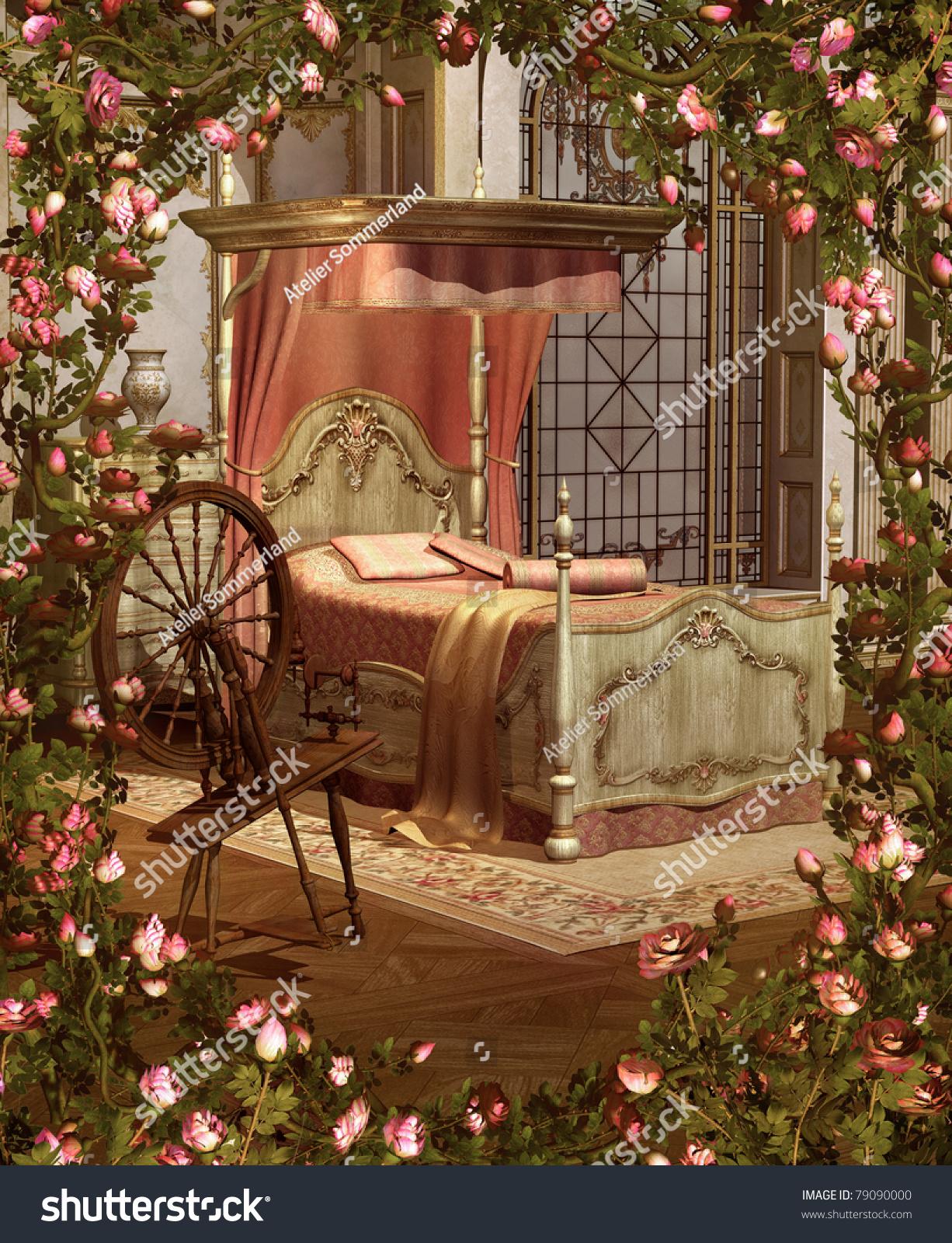 Sleeping Beautys Bedroom Stock Illustration 79090000