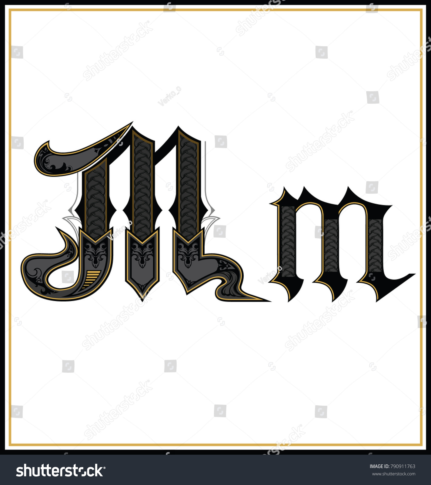 Decorative Gothic Letter M Small And Capital Letters With Pattern Characters Of Alphabet Are