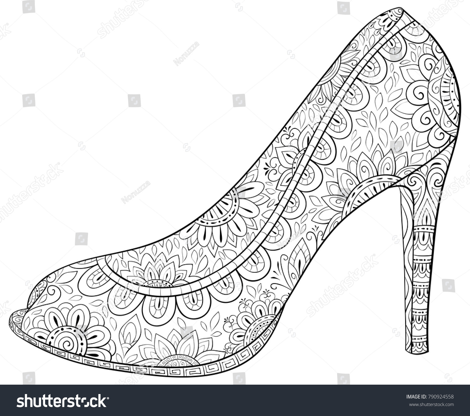 Adult Coloring Pagebook A High Heel Shoes For RelaxingZen Art Style Illustration