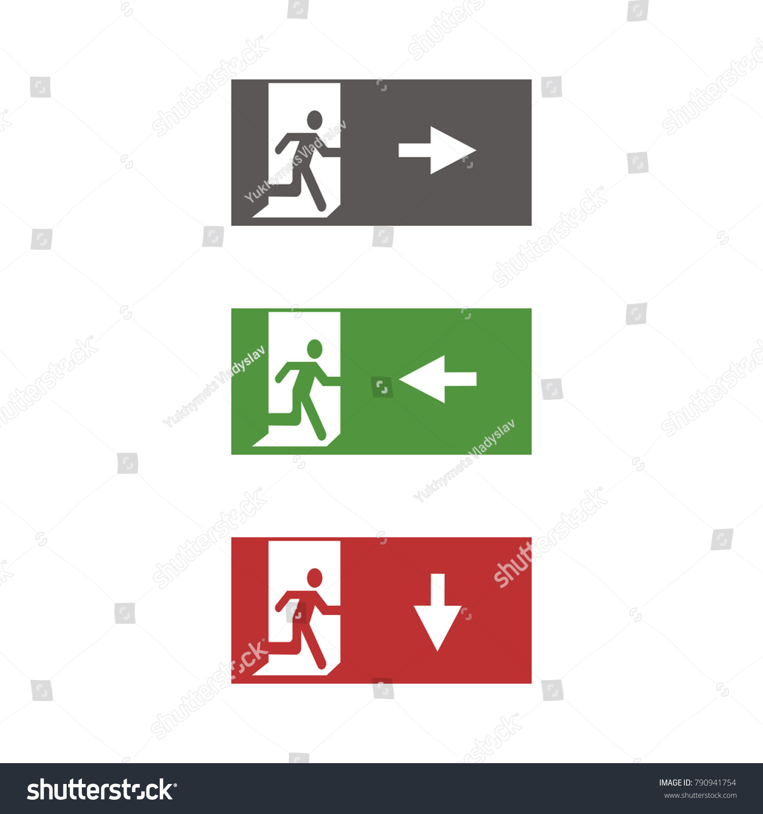 Vector fire emergency icons signs evacuations stock vector vector fire emergency icons signs of evacuations fire emergency exit in green and red biocorpaavc Gallery