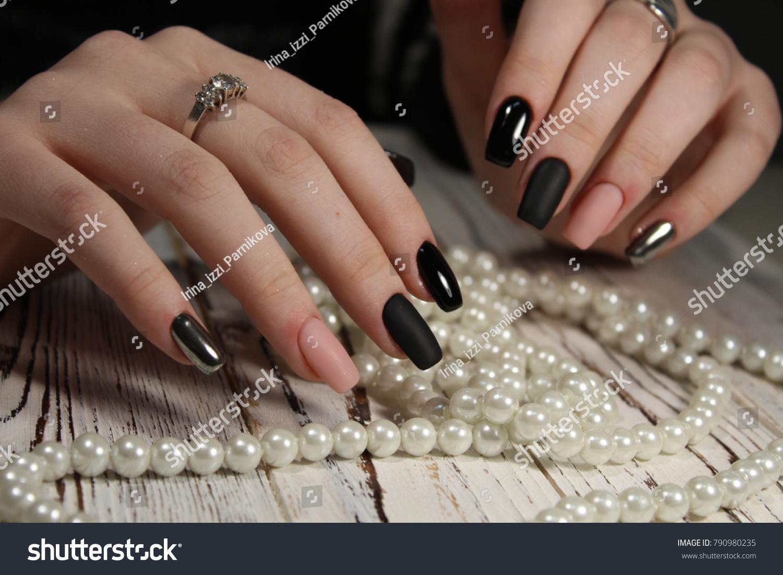 Beautiful Long Nails Color Black Pink Stock Photo (Royalty Free ...