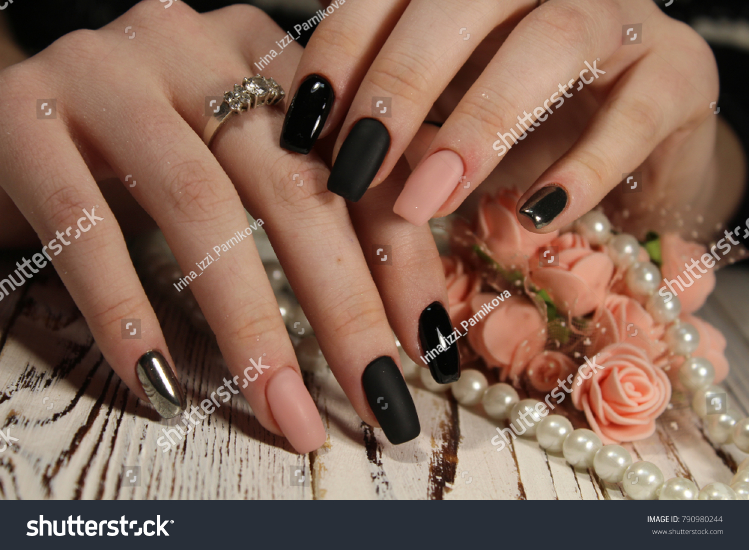 Beautiful Long Nails Delicate Manicure Pearl Stock Photo (Royalty ...