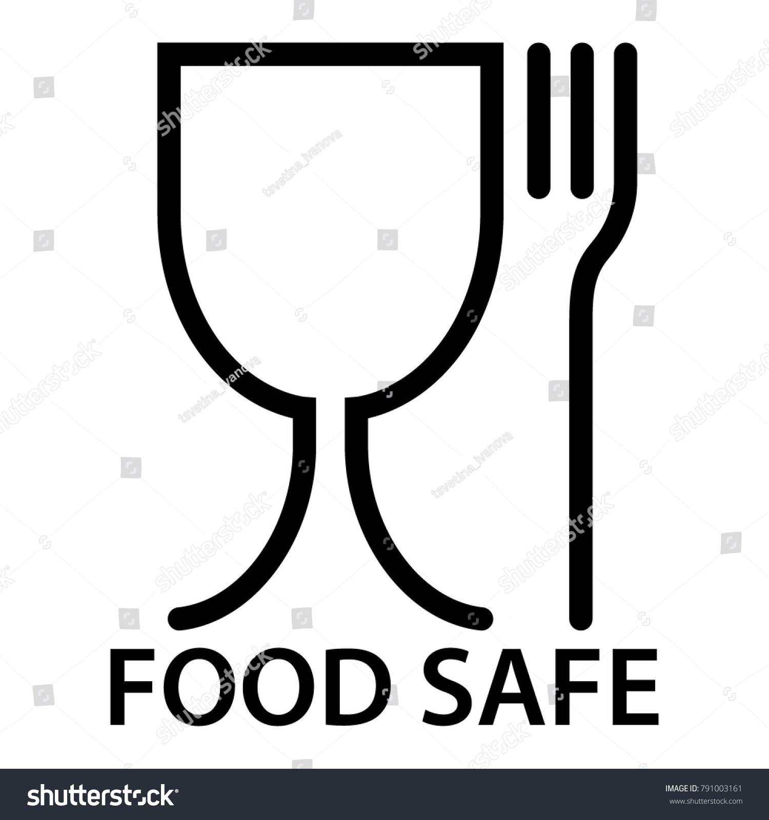Food Safe Icon Fork Glass Symbol Stock Vector Royalty Free