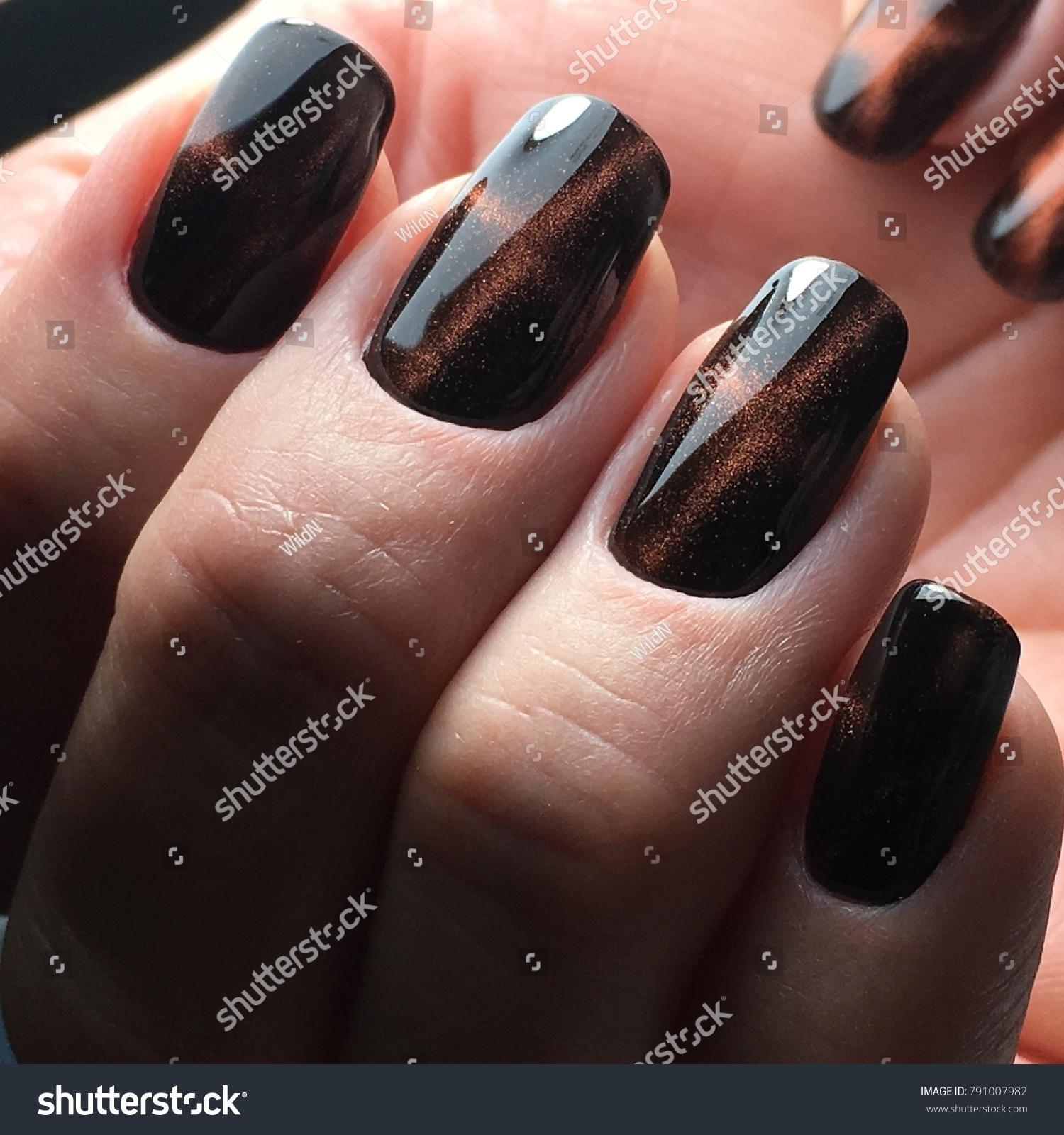 Brown Tiger Cat Eye Nails Gel Stock Photo (Edit Now)- Shutterstock