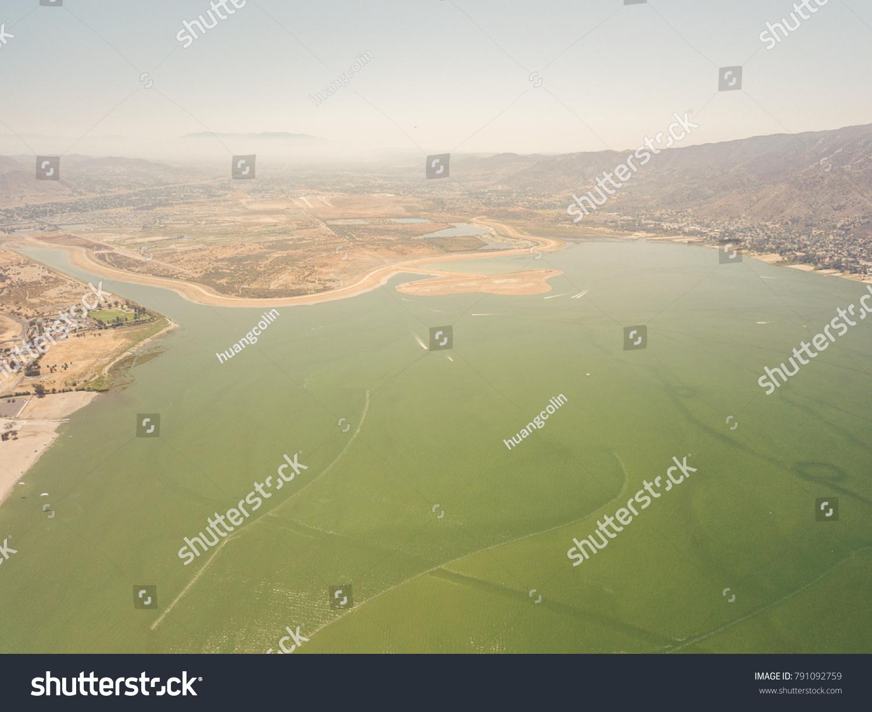 Lake Elsinore Green Lake Aerial View Stock Photo (Edit Now