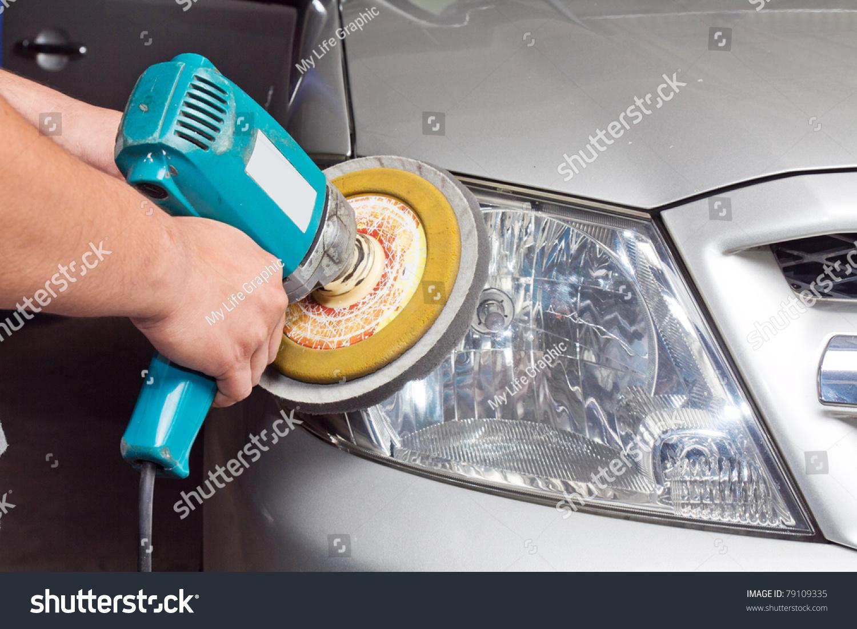 Car Headlights Power Buffer Machine Service Stock Photo Edit Now