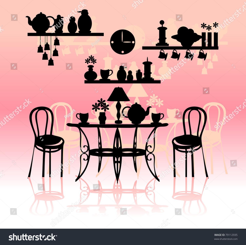 Retro Kitchen Illustration: Retro Kitchen Silhouette Stock Vector Illustration