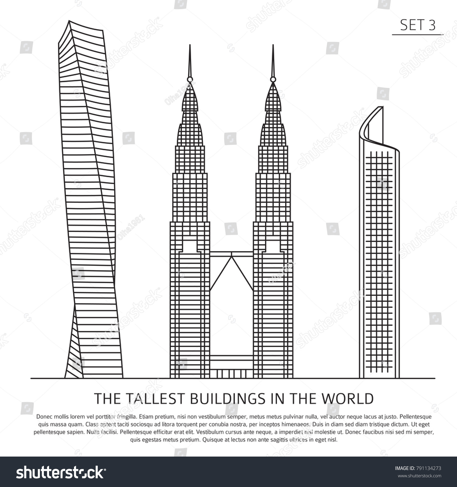 The Tallest Buildings In World Skyscrapers Simple Line Icon Set Isolated On White