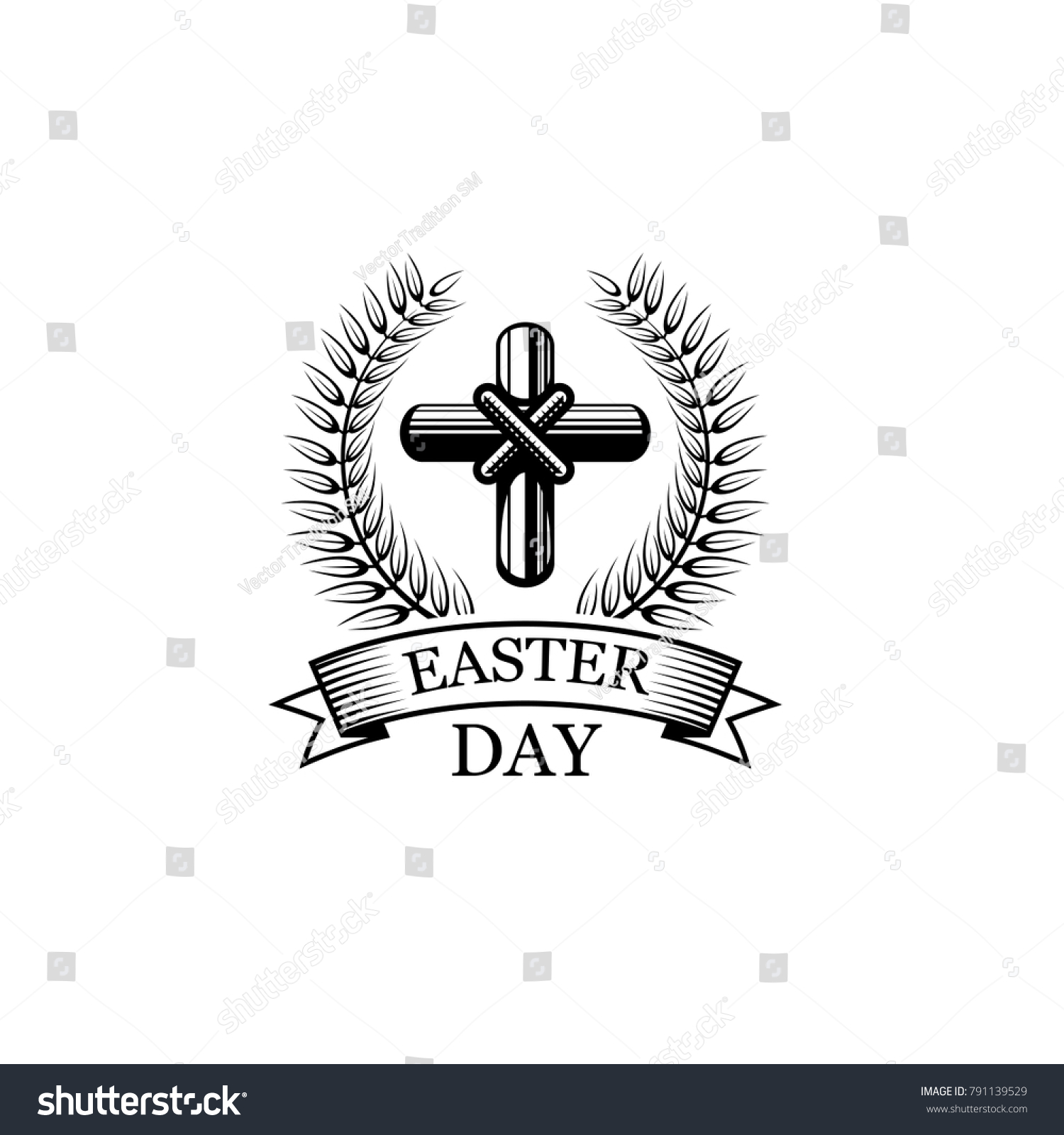 Easter day icon crucifix cross laurel stock vector 791139529 easter day icon of crucifix cross laurel branch and ribbon vector isolated symbol of biocorpaavc Choice Image