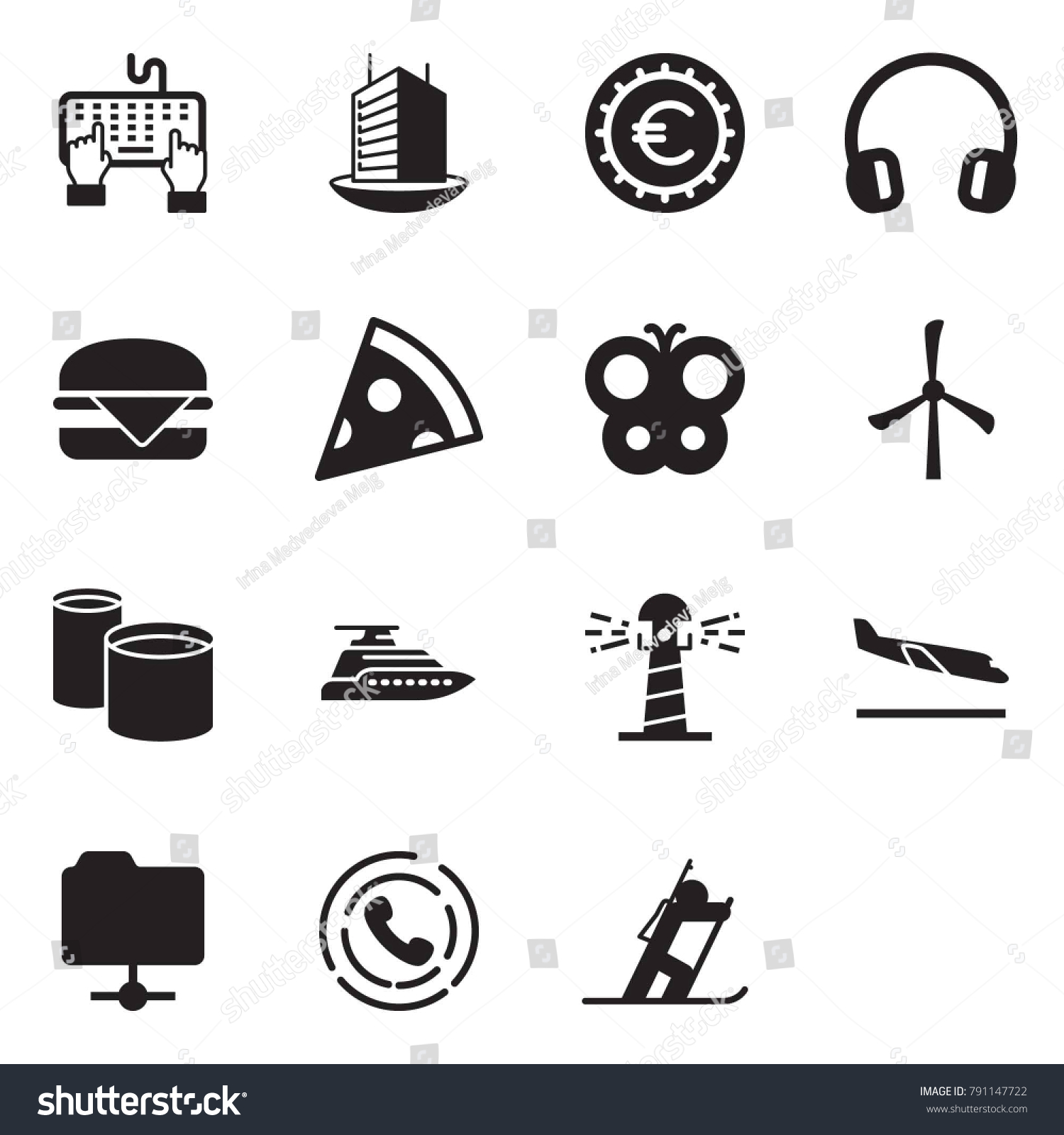 Solid black vector icon set keyboard stock vector 791147722 solid black vector icon set keyboard hand vector office building euro sign buycottarizona