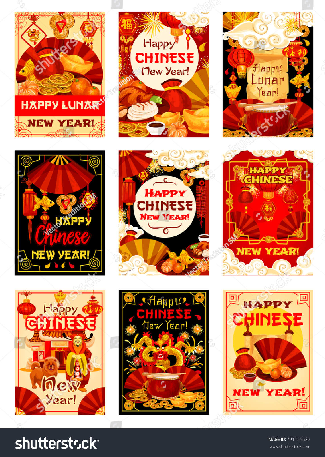 Happy Chinese New Year And Lunar Dog Year Posters Or Greeting Cards