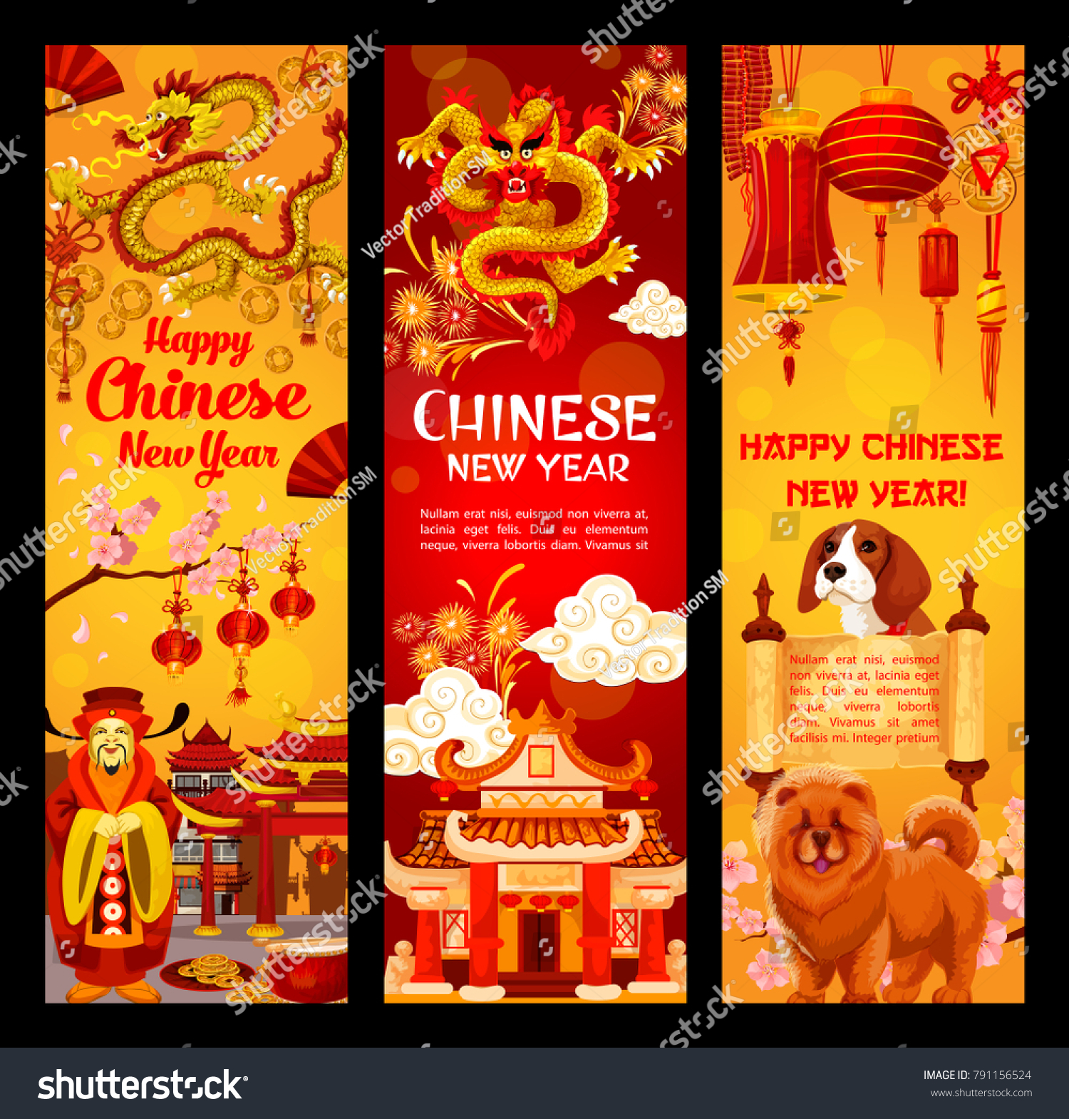 Happy Chinese New Year Greeting Banners Of Traditional Chinese