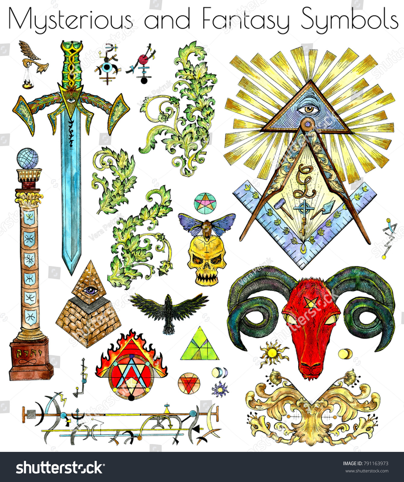 Design Set Colorful Mystic Esoteric Fantasy Stock Illustration