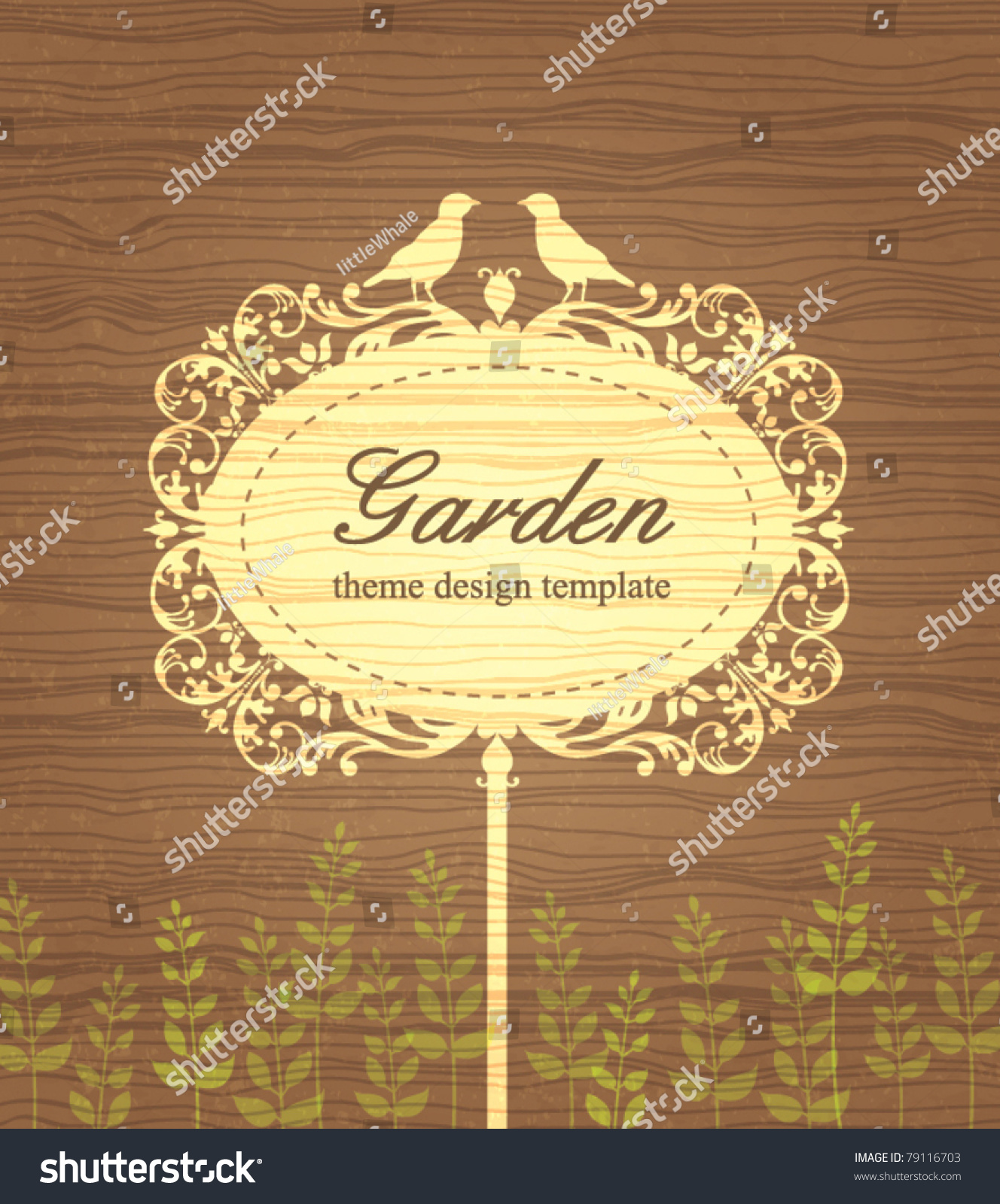 Garden Theme Design Template Vintage Wood Stock Vector (Royalty Free ...