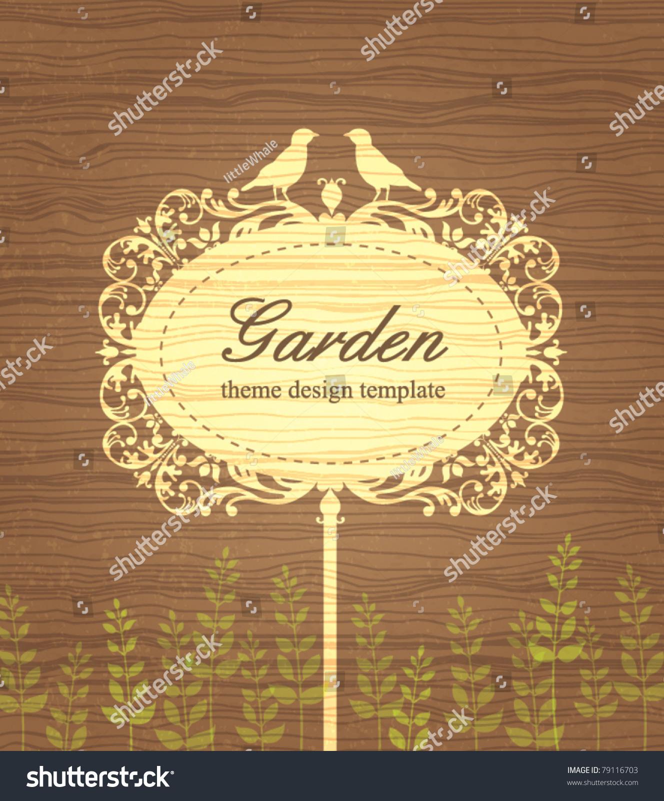 Garden Stock Image Image Of Design: Garden Theme Design Template Vintage Wood Stock Vector