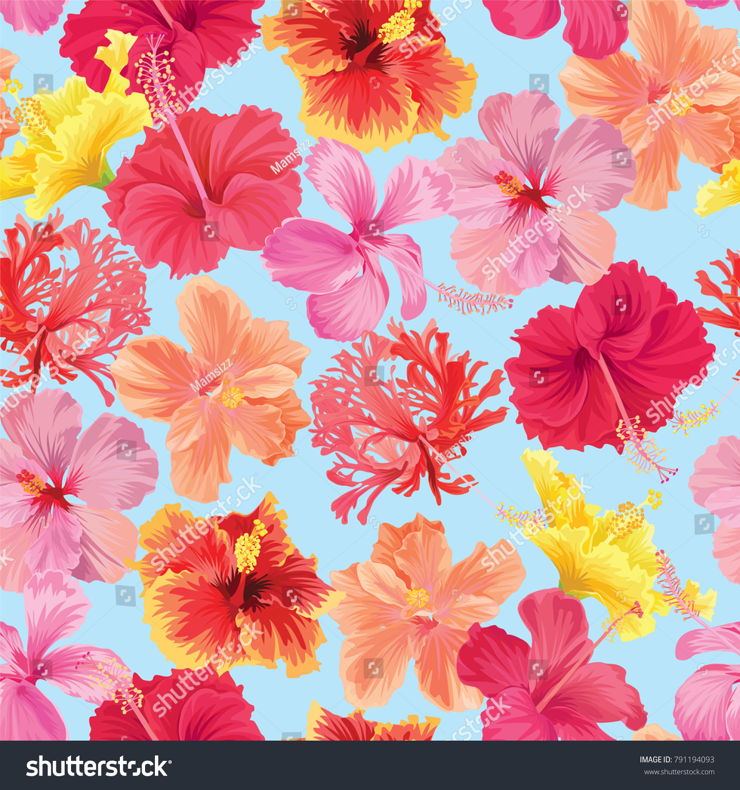 Tropical seamless pattern hibiscus flowers on stock vector royalty tropical seamless pattern hibiscus flowers on white background template vector set of blooming tropical floral izmirmasajfo