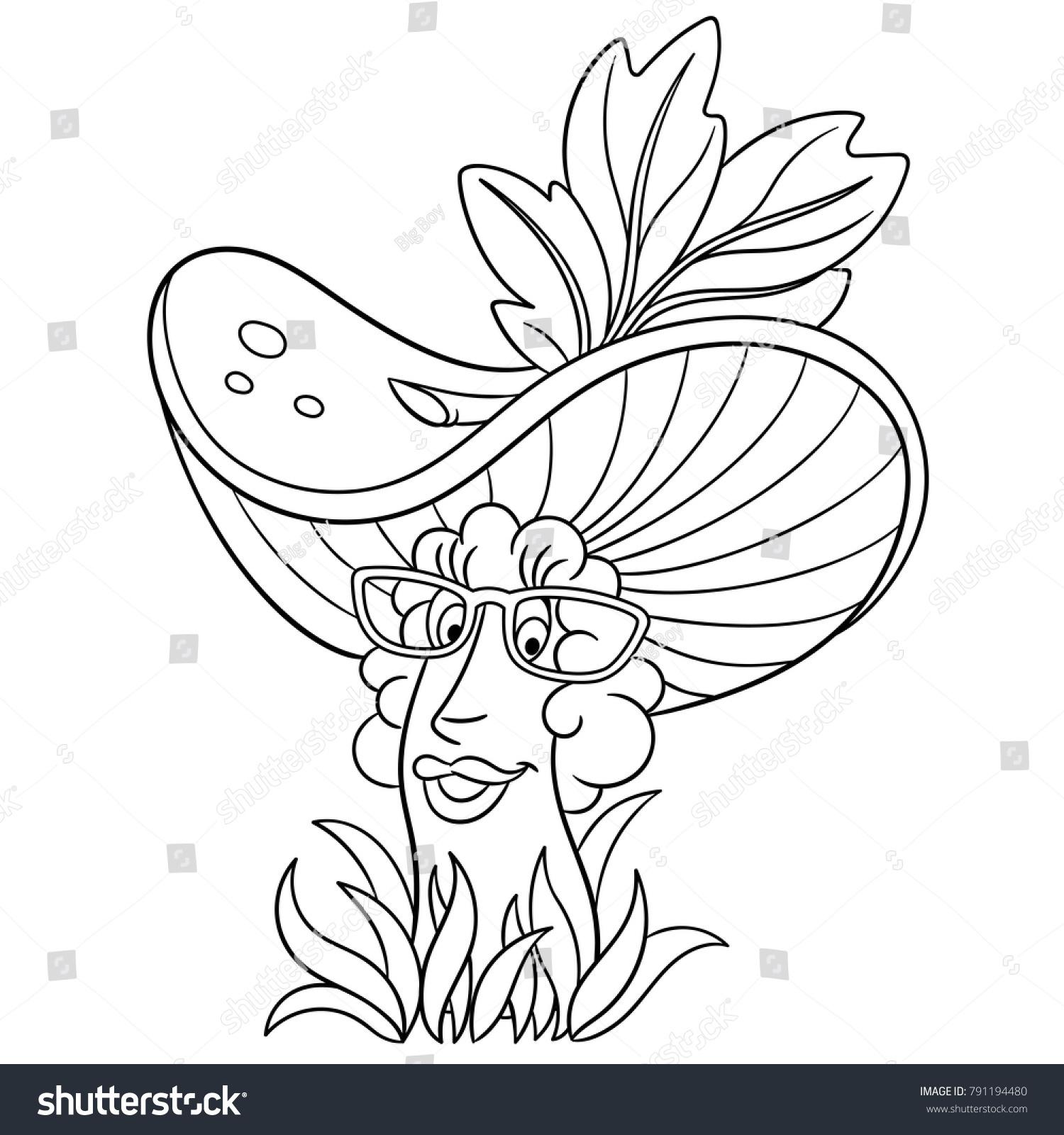 Coloring Page Coloring Book Cartoon Chanterelle Stock Vector ...