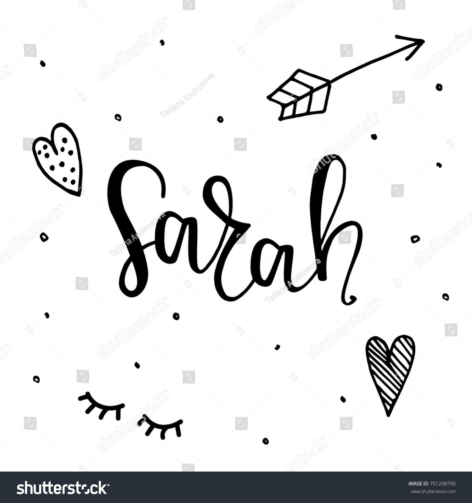 Female name sarah template invitation greeting stock vector royalty female name sarah template for invitation and greeting cards envelopes t shirts stopboris Images