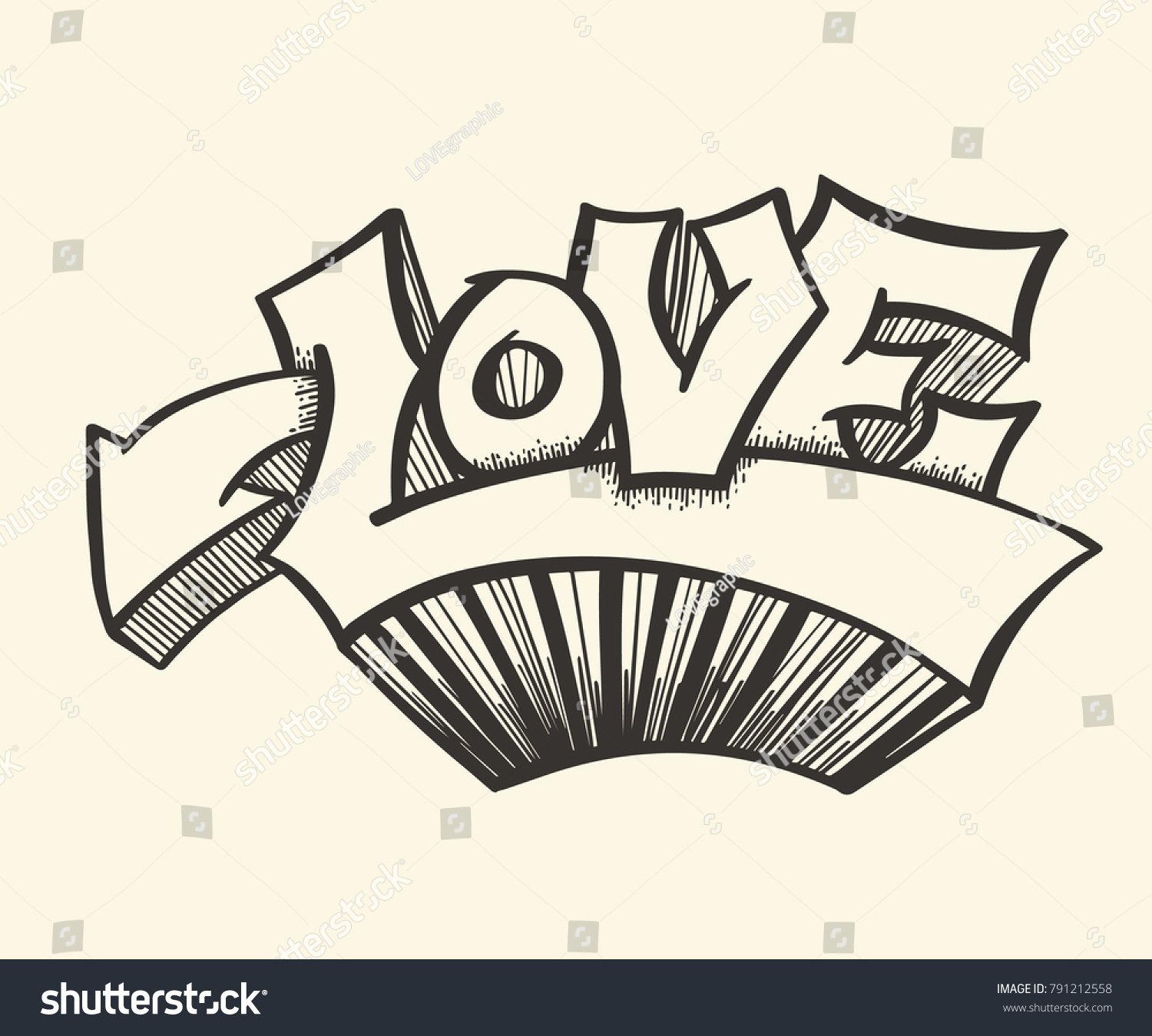 Arrow and love doodle 3d style vector illustration graffiti for love concept valentine and wedding